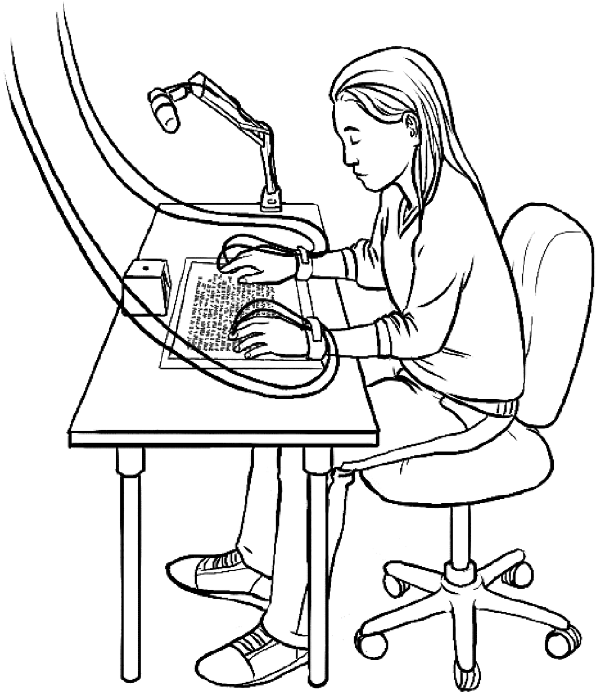 Pen and Ink graphic of person sitting in an office chair and reading braille with haptic sensors on their hands.