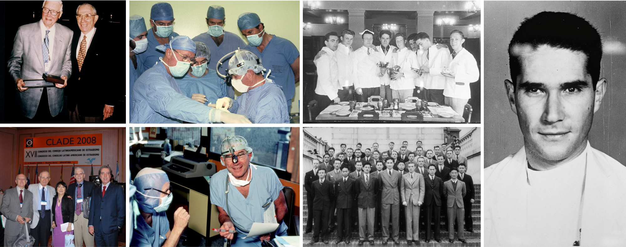 collage of images from Dr. Jampolsky's career as a physician and SKERI founderr