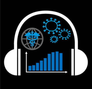 image of headphones encompassing virus, bar graph and caduceus icons