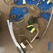 Top down view of a physical model of the Magical Bridge playground layout