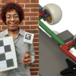 Kassia Love holding a checkerboard grid next to an engineering drawing of mechanized eyes