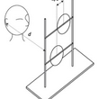 Line drawing of a person facing a rig supporting two circular echo reflectors