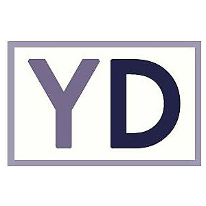 The letter Y in lavender and D in purple, with a lavender rectangle around the two letters
