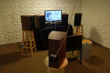 Picture of a sound treated room with speaker array