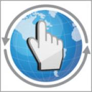 A hand icon hovers over a 2-D globe. Two grey arrows circle the globe counterclockwise.