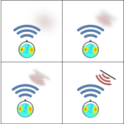 Four-panel schematic illustrating an echolocation target, initially blurry, becoming progressively more sharply defined.