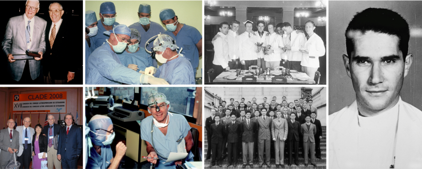 collage of images from Dr. Jampolsky's career as a physician and SKERI founder