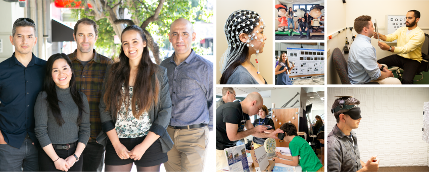 From left to right: Santani Teng, Audrey Wong-Kee-You, Brent Parsons, Cecile Vullings, Ali Cheraghi. Various photos of SKERI's postdoctoral researchers at the Bay Area Science Festival, showcasing their activities and interacting with the children