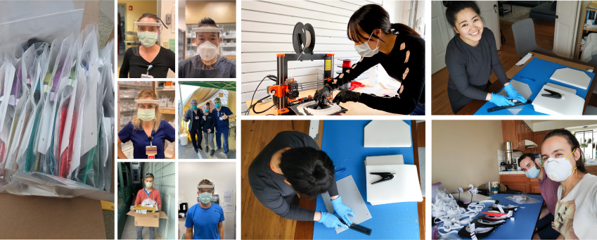 Photo collage of volunteers making Face Shields for Health Care Workers
